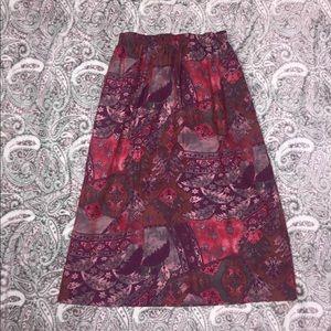 Nikki Wine Patchwork Skirt